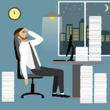 Overworked and tired businessman or office worker. Sitting at his desk with pile document binders,Business stress. Flat style modern vector illustration Stock Photos