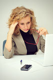 Overworked Tired Businesswoman Stock Images