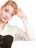 Overworked tired businesswoman woman girl Royalty Free Stock Photos