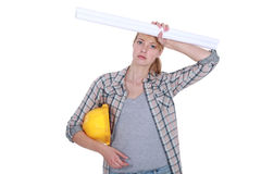 Overworked tradeswoman Stock Images