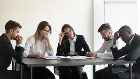 Free Overworked Upset Group Of Diverse People Dissatisfied With Work Results. Stock Images - 175039924