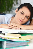 Overworked woman Stock Photo