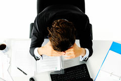 Overworked worker is stressed Royalty Free Stock Photos