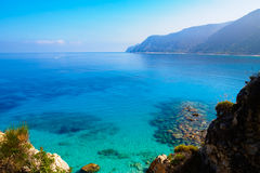 Overzees in Agios Nikitas op Lefkada, Griekenland Royalty-vrije Stock Foto