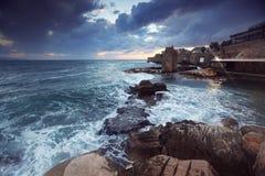Overzees bij stad van Acre in Westelijke Galilee Stock Fotografie