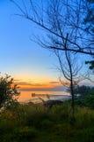 Overzees bij zonsopgang stock foto