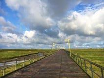 Overzees-brug St peter-Ording stock afbeelding