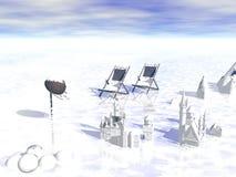 Overzees in de winter Royalty-vrije Stock Fotografie