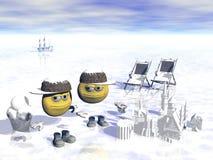 Overzees in de winter Stock Fotografie