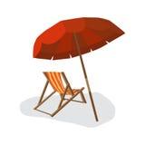 Overzees die de zomerstrand, zonparaplu's, strandbedden met schaduw worden geïsoleerd royalty-vrije illustratie