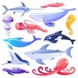 Overzees dieren en vissenbeeldverhaalillustratie De mariene elementen van het het levensontwerp Oceaandiebewoners op witte achter royalty-vrije illustratie