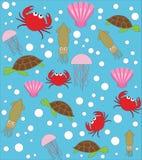 Overzees dieren vectorpatroon stock illustratie