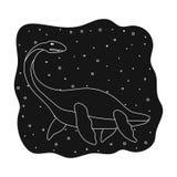 Overzees dinosauruspictogram in zwarte die stijl op witte achtergrond wordt geïsoleerd Dinosaurussen en de voorhistorische vector Stock Fotografie