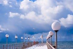 Overzees en blauwe hemel Zeevogels die op pijler zitten Het strand van de winter Winte Royalty-vrije Stock Foto's