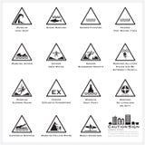 Overzees en Geplaatste de Pictogrammen van het van de Strandvoorzichtigheid en Waarschuwingsbord Stock Fotografie