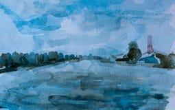 Overzees en hemel, waterverfbeeld Stock Afbeeldingen