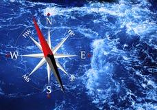 Overzees en kompas Royalty-vrije Stock Fotografie