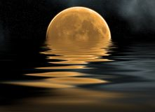 Overzees en maan Stock Afbeeldingen