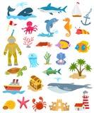 Overzees en oceaandieren en vissen Stock Fotografie