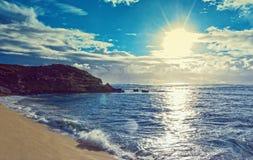 Overzees en strand en hemel royalty-vrije stock fotografie