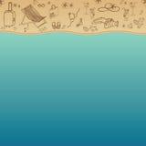 Overzees en Zand als achtergrond voor de zomerontwerp Vector illustratie De vakantie van de zomer Royalty-vrije Illustratie