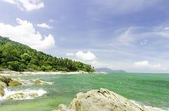 Overzees en zon op aardige hemel Thailand Royalty-vrije Stock Fotografie