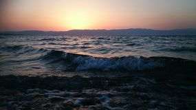 Overzees en zonsondergang in de zomer Stock Fotografie