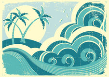 Overzees golven en eiland. Royalty-vrije Stock Foto