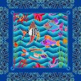 Overzees het levensart. Naadloze vectorpatroonvissen en koralen Royalty-vrije Stock Fotografie