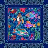 Overzees het levensart. Naadloze vectorpatroonvissen en koralen Stock Afbeelding