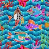 Overzees het levensart. Naadloze vectorpatroonvissen en koralen Royalty-vrije Stock Afbeelding