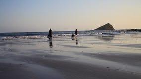 Overzees Kayaking op de kust van Devon en Cornwall, het UK stock footage