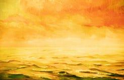 Overzees landschap, illustratie, het schilderen Royalty-vrije Stock Foto's