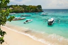 Overzees landschap met boten Royalty-vrije Stock Foto's