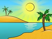 Overzees landschap met een strand en palmen Stock Afbeeldingen