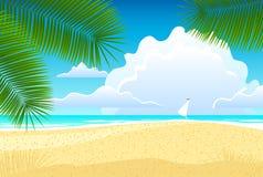 Overzees landschap met palmen Royalty-vrije Illustratie