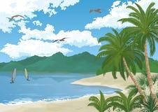 Overzees Landschap met Palmen en Surfers Royalty-vrije Stock Foto's