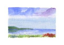 Overzees landschap met rode bloemen - watercolour Stock Foto's
