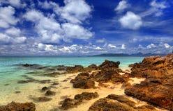 Overzees landschap met wolken Royalty-vrije Stock Foto