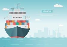 Overzees logistisch vervoer Overzeese vracht Vrachtschip, container stock illustratie