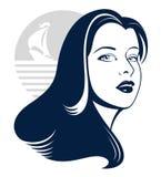 Overzees meisje met jachtsilhouet vector illustratie
