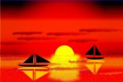 Overzees met de schepen op zonsondergang stock illustratie