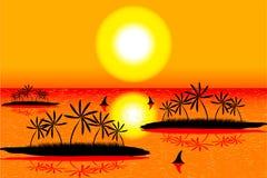 Overzees met eilanden op tropische zonsondergang stock illustratie