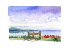 Overzees met palissade - watercolour Stock Foto