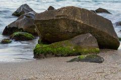 Overzees met rotsen stock foto