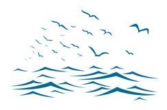 Overzees met vogels Royalty-vrije Stock Afbeeldingen