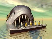 Overzees Monster met Lijnboot Stock Foto's