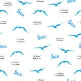 Overzees naadloos patroon De silhouetten van waterverfzeemeeuwen royalty-vrije illustratie