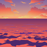 Overzees of oceaanlandschap Zonsondergang Vector illustratie Stock Foto