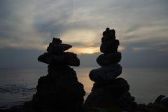 Overzees op zonsondergang Stock Afbeeldingen